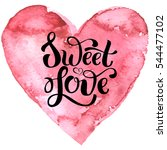 hand drawn pink heart with ... | Shutterstock .eps vector #544477102