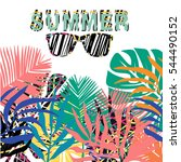 colour summer card. palm leaves ... | Shutterstock .eps vector #544490152