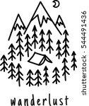 wanderlust. hand drawn mountain ... | Shutterstock .eps vector #544491436