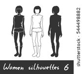 different women silhouettes.... | Shutterstock .eps vector #544498882