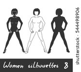 different women silhouettes... | Shutterstock .eps vector #544498906