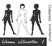 different women silhouettes.... | Shutterstock .eps vector #544498912