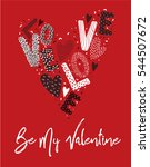 valentines card letters and... | Shutterstock .eps vector #544507672