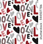 love pattern with letters and... | Shutterstock .eps vector #544507786
