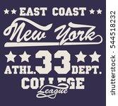 new york sport wear typography... | Shutterstock .eps vector #544518232