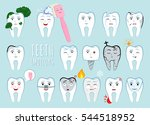 teeth emotion set. many various ... | Shutterstock .eps vector #544518952
