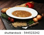 lentil soup with pita bread in... | Shutterstock . vector #544523242