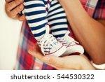 small cute newborn baby feet | Shutterstock . vector #544530322