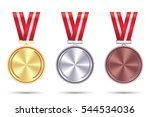 set realistic medals of gold ... | Shutterstock .eps vector #544534036