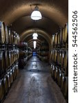 Small photo of Alexander Valley, California - November 09: Stacks of wine barrels in the cave at the Alexander Valley Vineyards Winery. November 09 2016, Alexander Valley, California.