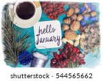 hello january composition of... | Shutterstock . vector #544565662