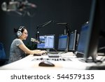 young woman dj works in modern... | Shutterstock . vector #544579135
