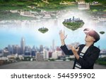 man wearing virtual reality...   Shutterstock . vector #544595902
