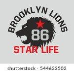 brooklyn lions graphic design... | Shutterstock .eps vector #544623502