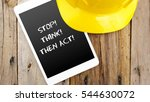 word stop  think  then act  on... | Shutterstock . vector #544630072
