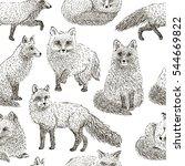 fox seamless pattern sketch.... | Shutterstock .eps vector #544669822