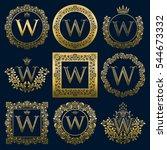 vintage monograms set of w... | Shutterstock .eps vector #544673332