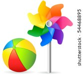toys   beach ball and pinwheel  ... | Shutterstock .eps vector #54468895