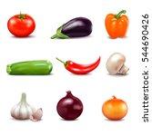 set of fresh vegetables in... | Shutterstock .eps vector #544690426