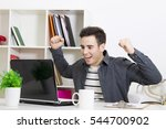 male young celebrating with... | Shutterstock . vector #544700902