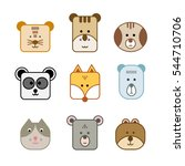 face of cute animals | Shutterstock .eps vector #544710706