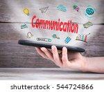 communication concept. tablet... | Shutterstock . vector #544724866