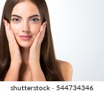 beautiful woman face portrait... | Shutterstock . vector #544734346