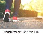 feet women in the walking on... | Shutterstock . vector #544745446