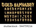 golden beveled font. vector... | Shutterstock .eps vector #544759216