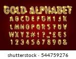 golden beveled font. vector... | Shutterstock .eps vector #544759276