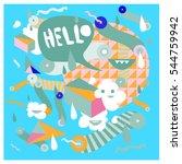 hipster crazy doodle monster... | Shutterstock .eps vector #544759942