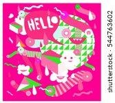 hipster crazy doodle monster... | Shutterstock .eps vector #544763602