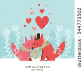 cute fox valentines day card.... | Shutterstock .eps vector #544773502