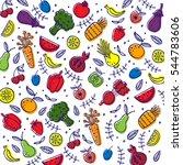 hand drawn fruits vegetables... | Shutterstock .eps vector #544783606