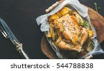 roasted whole chicken stuffed... | Shutterstock . vector #544788838