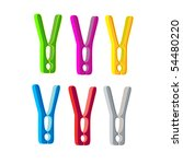 vector color clothes pins on a...   Shutterstock .eps vector #54480220