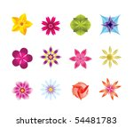 12 abstract flower icons  ...