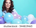 young pretty woman with colored ...   Shutterstock . vector #544819465