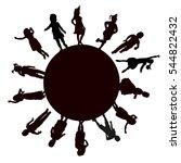 silhouettes of children... | Shutterstock .eps vector #544822432
