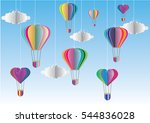 colorful hot air balloon and... | Shutterstock .eps vector #544836028