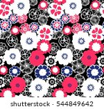 seamless pattern with flower... | Shutterstock .eps vector #544849642
