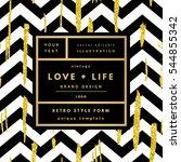 romantic love gold minimal logo ... | Shutterstock .eps vector #544855342