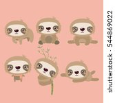 cute cartoon smiling lazy sloth ... | Shutterstock .eps vector #544869022