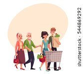 old and young couples shopping... | Shutterstock .eps vector #544869292