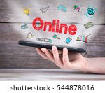 online concept. tablet computer ... | Shutterstock . vector #544878016