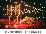 two champagne glasses on hearts ... | Shutterstock . vector #544882366