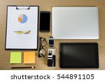 flat lay image of hipster... | Shutterstock . vector #544891105
