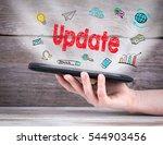 update concept. tablet computer ... | Shutterstock . vector #544903456