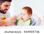 happy father feeding cute... | Shutterstock . vector #544905736