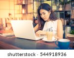 asian woman working with laptop ... | Shutterstock . vector #544918936